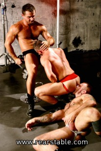 Hardcore Threeway Action from Raging Stallion