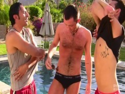Poolside Threeway from Real Guys Exposed