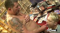 Four Guys Fucking In Sexshop from All Real Bareback