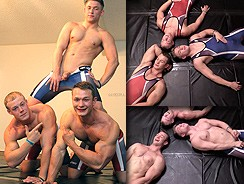 Wrestling Buddies Jerk Off from Gay Hoopla