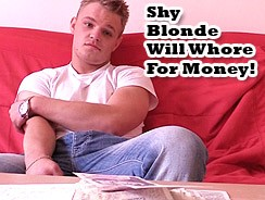 Shy Blonde Boy Needs Money from Big Str