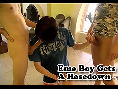 Emo Boy Gets A Hosedown from Boys Pissing