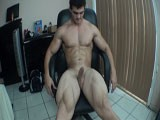 Sexy wet hunk strips n cums from Alain Lamas