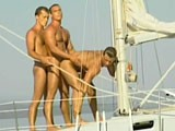 Threesome sex outdoors