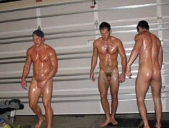 Oil Wrestling Nude from Fratpad