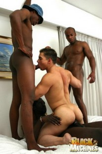 Interracial 4way Action from Black Machines