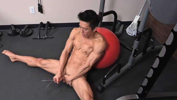 Asian gay jerking off photo