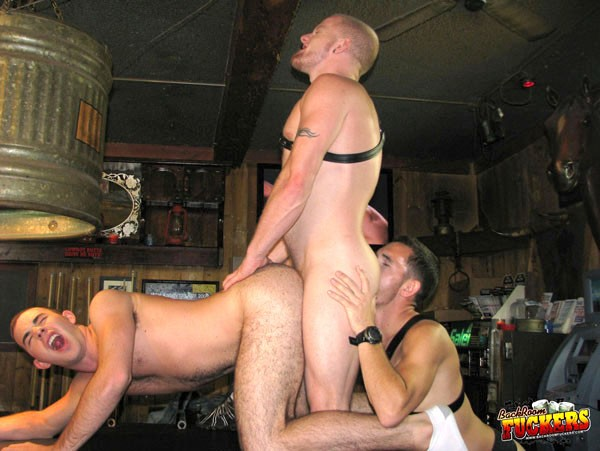 Butch bum bashing in the back room