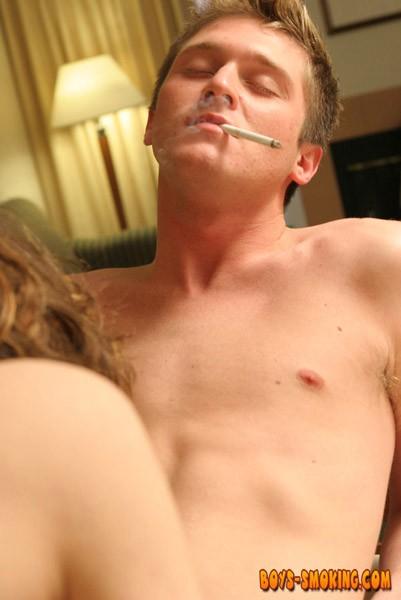 Gay cutie Ayden James smoking before anal and cumshot
