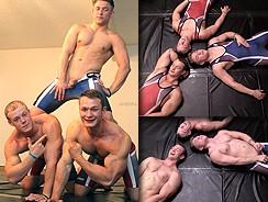 Wrestling Buddies Jerk Off from Gay Hoopla