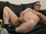 Fat daddy jerking his
